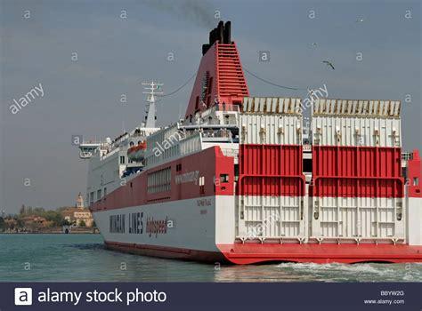 ferry boat venezia greek ferry boat minoan lines in the lagoon of venice