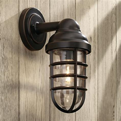 marlowe bronze 13 1 4 quot high metal cage outdoor wall light
