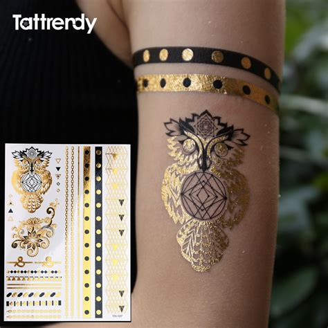 flash tattoos aliexpress owl ring jewel temporary tattoo fake on the body hand