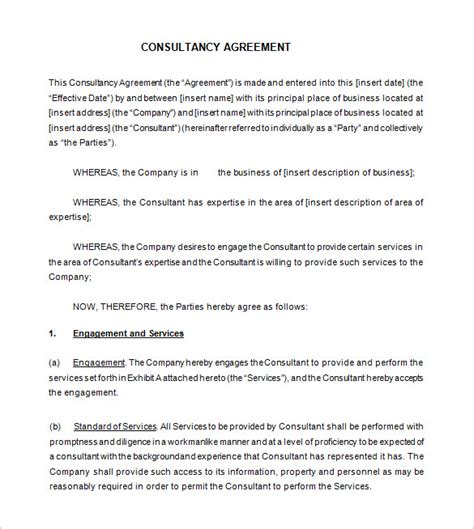 Marketing Consulting Agreement Template Business Consultant Agreement Agreement For Contracted Marketing Services Agreement Template Free