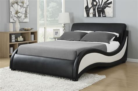 Black White Leatherette Upholstered Bed Frame Caravana Black Upholstered Bed Frame