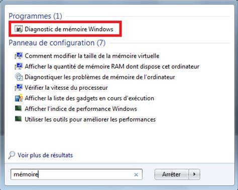 test della ram diagnostic de la m 233 moire vive avec windows 7