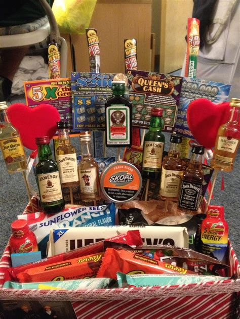 made boyfriend a manly valentines day basket filled