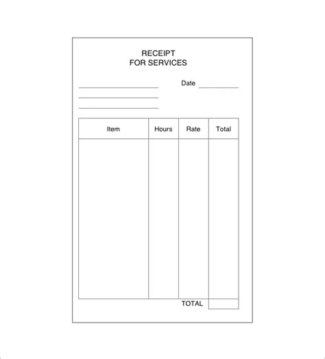Caregiver Receipt For Services Template by Service Receipt Template 9 Free Word Excel Pdf Format