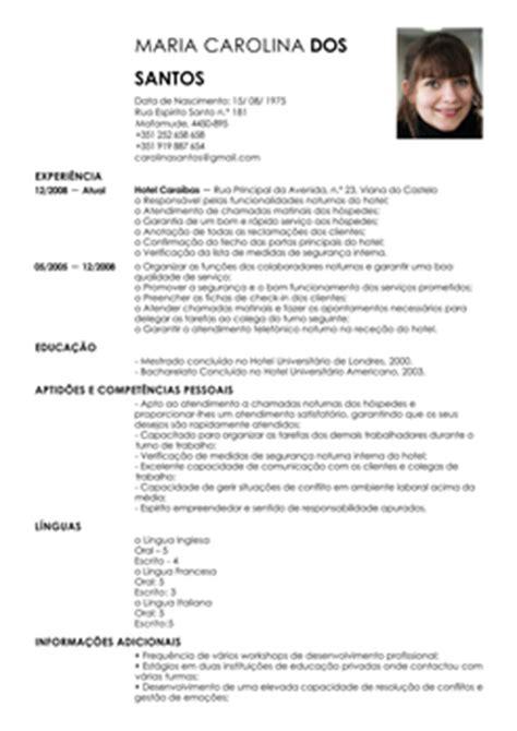 Modelo De Curriculum Vitae Para Recepcionista De Hotel Curriculum Vitae Exemplo Curriculum Vitae