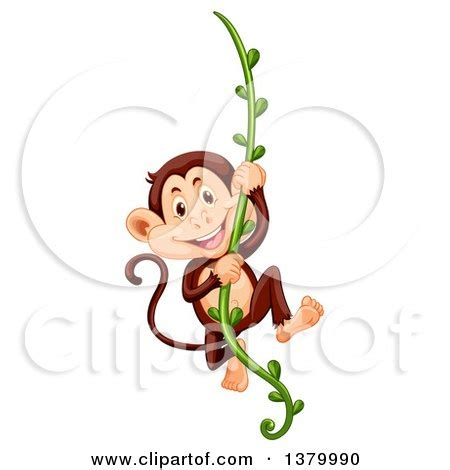cartoon monkey swinging on a vine free cute cartoon monkey clipart illustration