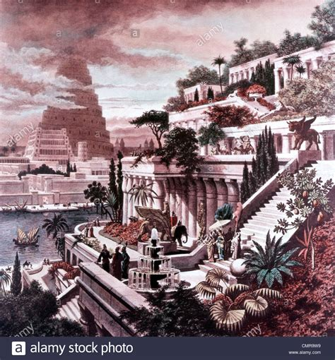 Gardens Of The Ancients by Illustration Seven Wonders Of The Ancient World 600 Bc