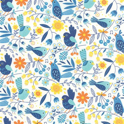 Bird Quilting Fabric by Blue Bird Fabric Moda On The Wing 35261 Abi Floral