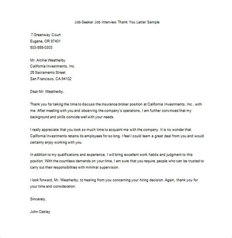 thank you letters for job offer