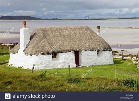 Cottages In The Outer Hebrides by Traditional House Thatched Cottage At Malacleit On
