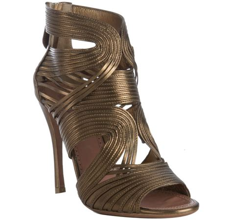 bronze gold sandals ala 239 a bronze strappy leather peep toe sandals in gold