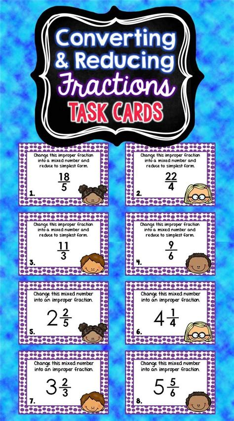 printable mixed number cards mixed numbers and improper fractions task cards cards