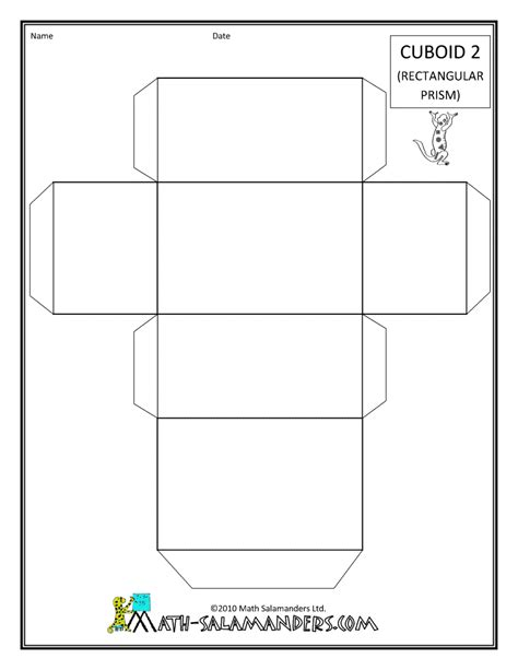 How To Make A Cuboid With Paper - net of cuboid template