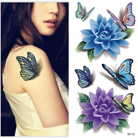 3d tattoo designs for women 2015 3d butterfly tattoos sticker flower butterfly