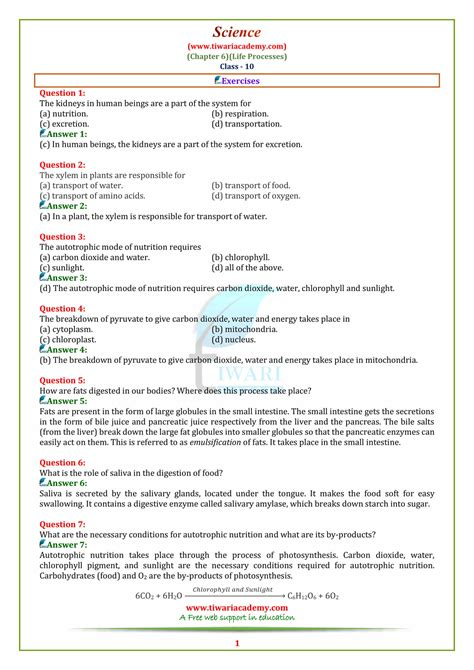 ncert solutions for class 10 science chapter 6 life