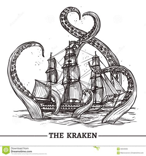 ship and octopus stock vector image 59546306