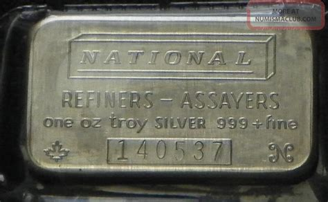 1 Troy Ounce Silver Bar - national refiners assayers quot one troy ounce 999