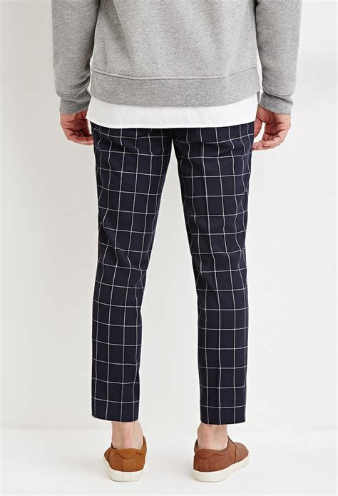 black and white grid pattern pants forever 21 slim fit grid patterned pants in blue for men