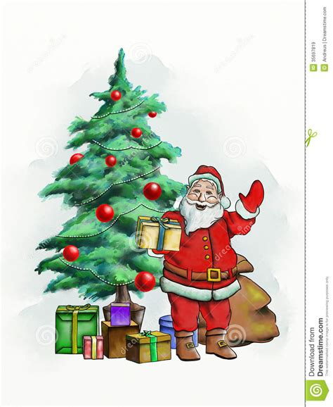santa claus and christmas trees happy holidays