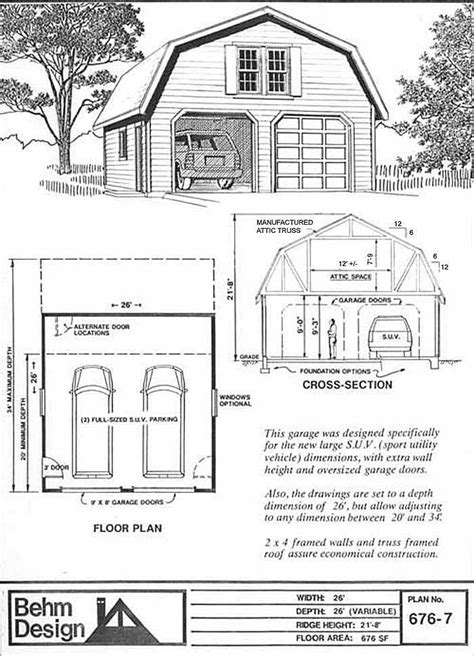 gambrel roof  car suv sized garage  attic plan