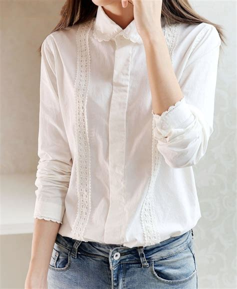 Blouse Cotton Lace G216533 preppy white blouse collection 13 pattern cotton lace crochet pan collar sleeve