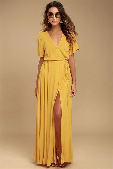 Ylw Dress lovely golden yellow dress wrap dress maxi dress 67 00