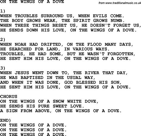 printable wings lyrics country southern and bluegrass gospel song on the wings