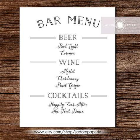 25 best ideas about wedding bar menu on
