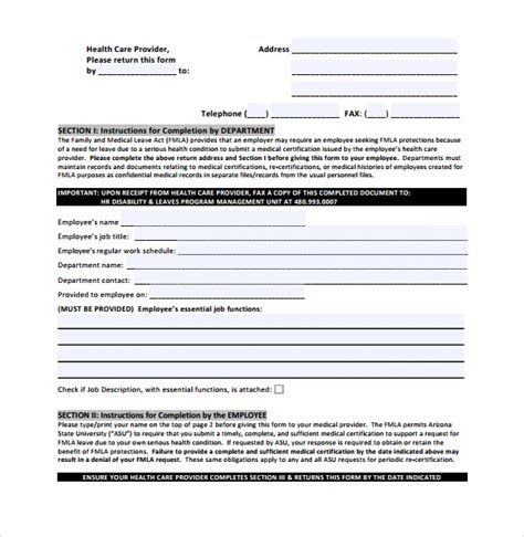 fmla form 11 fmla forms sle templates