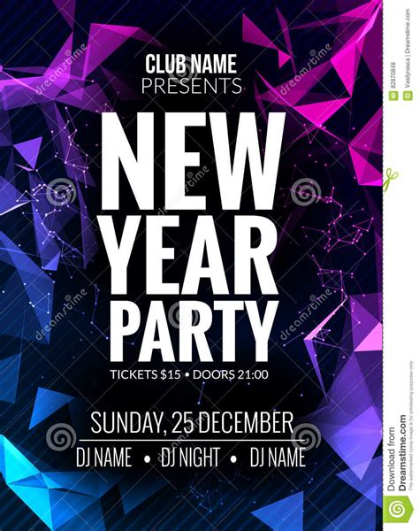 New Year Party Design Banner Event Celebration Flyer Template New Year Festive Poster Flyer Celebration Template