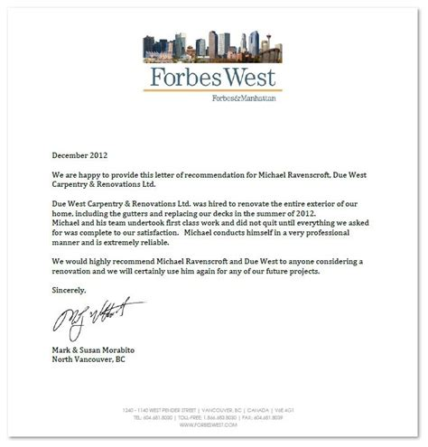 Restoration Company Introduction Letter Professional Reference Letter