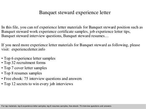Banquet Steward Sle Resume by Banquet Steward Experience Letter