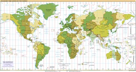 large detailed map  standart time zones   world