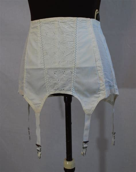 vintage girdle 1950s charmode white cotton girdle 34 waist vintage