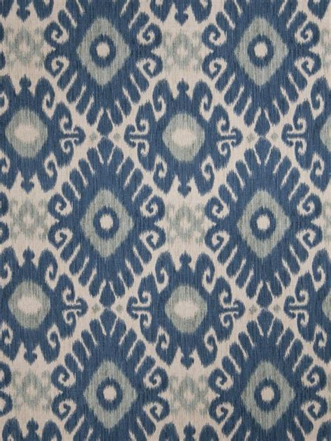 indigo blue and grey linen ikat upholstery fabric by the