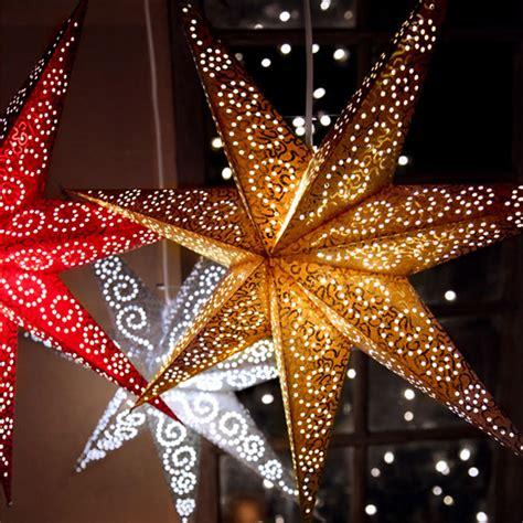 papierstern mit beleuchtung sternen aus papier led dekorative weihnachtslichter