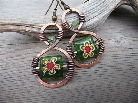 wire wrapped jewelry handmade copper jewelry earrings green