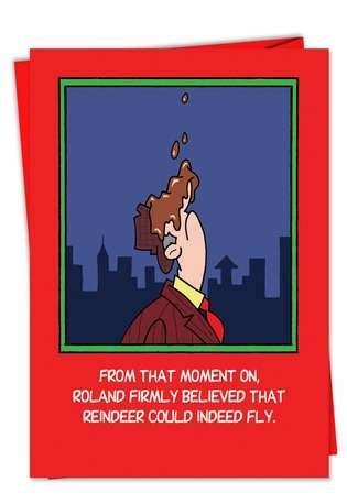 flying reindeer crap cartoons christmas paper card