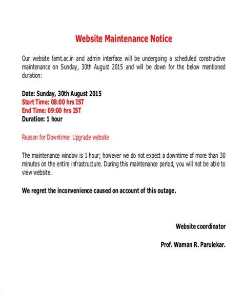 system maintenance notification template maintenance notice templates 8 free word pdf format