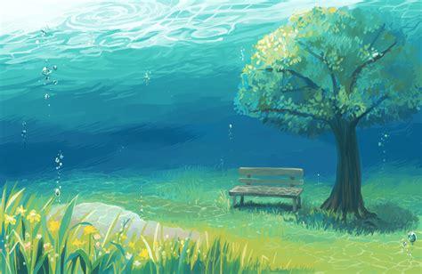 anime landscape android wallpaper wallpaper anime landscape underwater tree grass