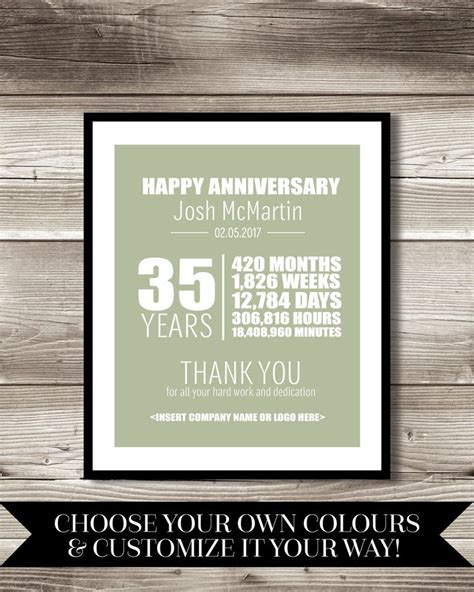 printable work anniversary cards 35 year work anniversary print gift digital print