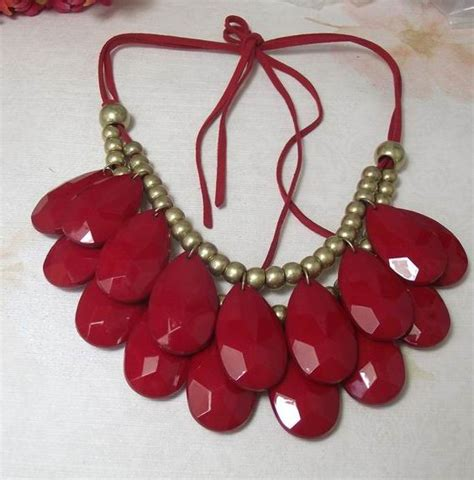 Handmade Bib Necklace - handmade teardrop bib necklace