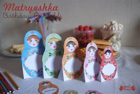 russian party matryoshka birthday party kit high quality printables