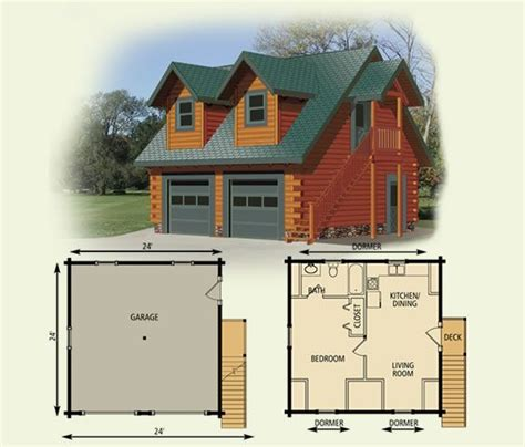 House Over Garage Floor Plans | efficiency apartment garage cottage log home and log cabin