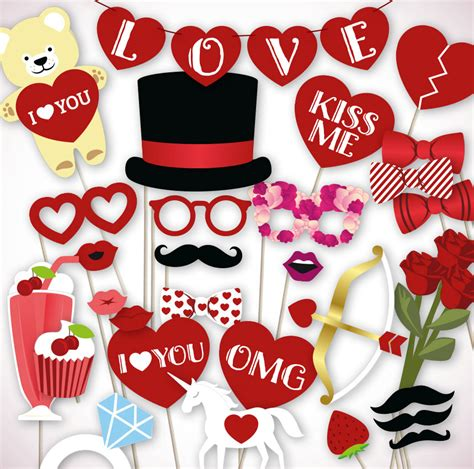 printable photo booth props for valentines valentines photo booth props printable pdf file for your diy