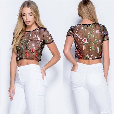 Flower Embroidered Sheer Top 1 2018 womens mesh sheer flower embroidered blouse