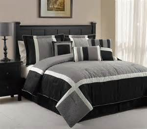 7pcs queen blaine black and grey comforter set
