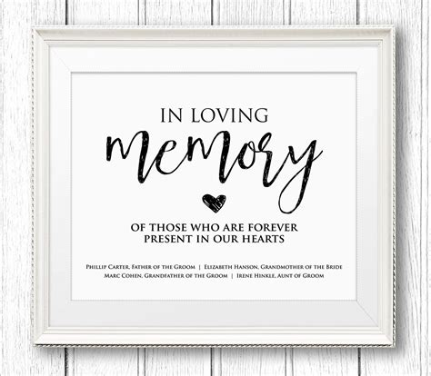 in loving memory wedding sign editable text personalize