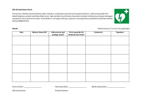 Generic Aed Weekly Status Check Aed Maintenance Checklist Template