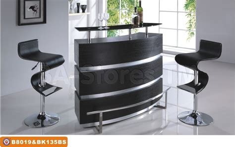 Bar Set 3 Pc Modern Bar Set In Black And Chrome Bar Table And Two
